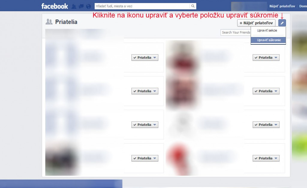 Facebook - ako skryť zoznam priateľov 2