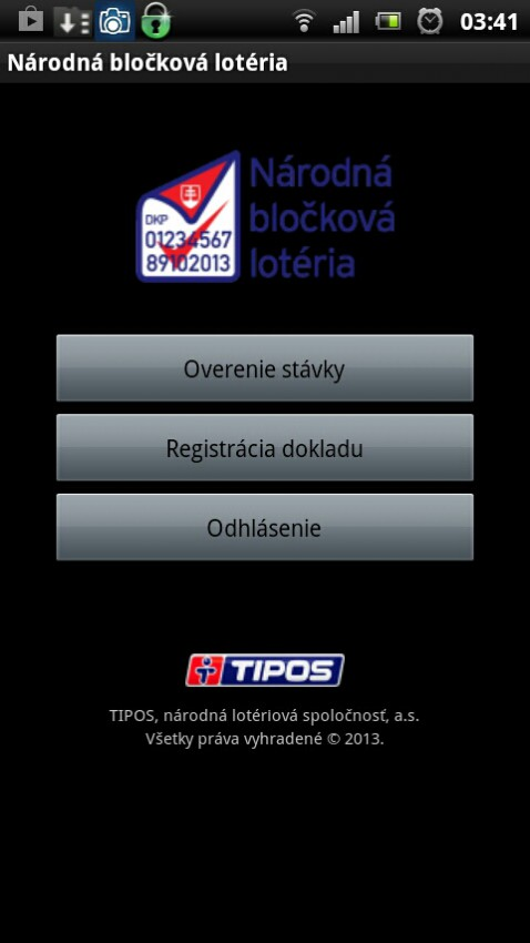 Aplikacia Blockova loteria po prihlaseni