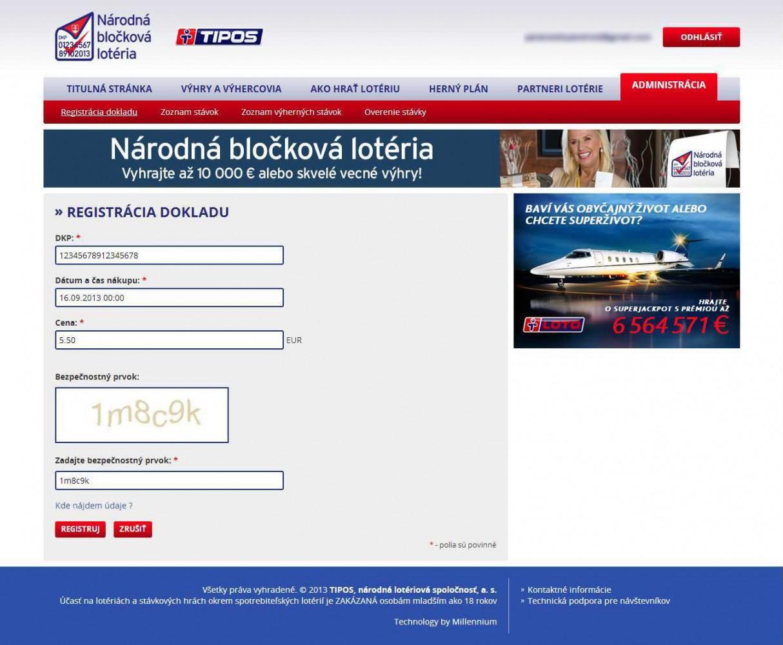 Ako registrovať bloček cez webovú stránu