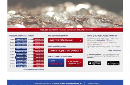 webová stránka na registrovanie bločkov