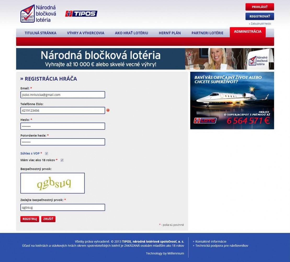 Musíte sa prihlásiť pre registrovanie bločkov cez internet