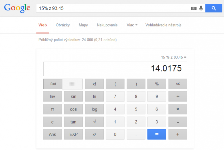 vypočet percent google