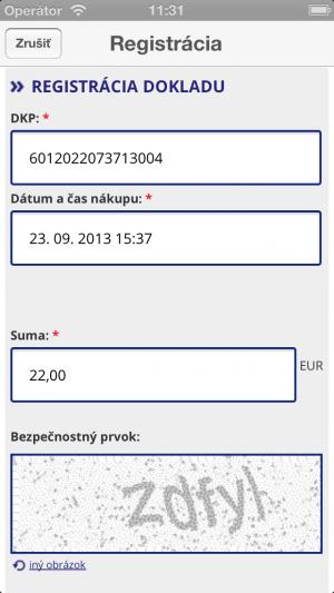 registrovanie bločkov aplikácia